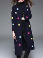 Navyblue Long Sleeve Shift Elegant Coat