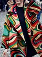 Abstract Shawl Collar Color-Block Casual Coat