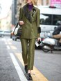 Green Long Sleeve Lapel Shift Top with Pants Two-piece Set