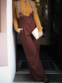 Wine Red Vintage Paneled Plain Cotton-Blend Pants