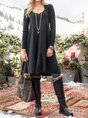 Black Knitted Casual Long Sleeve Dress