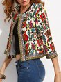Printed Floral 3/4 Sleeve Shift Cropped Jackets
