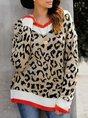 Women Long Sleeve Sexy Shift Leopard Print Sweater