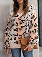 V Neck Shift Leopard Print Long Sleeve Sweater