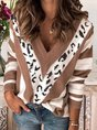 Leopard-Print V-neck Stripes Long Sleeve Casual Sweater