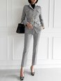 Shawl Collar Houndstooth Elegant Top with Pants Set
