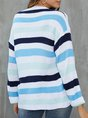 Blue Casual Crew Neck Shift Long Sleeve Sweater