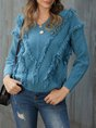 Blue Long Sleeve Casual Solid Sweater