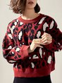 Printed Leopard Print Daily Casual Sweater
