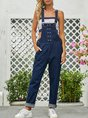 Denim Buttoned Solid Shift Overall