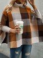 Light Coffee Casual Color-Block Turtleneck Sweater