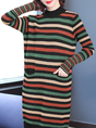 Color-block Stripes Casual Sweater Dress