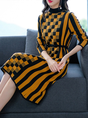 Knitted Geometric Drawstring Casual Sweater Dress