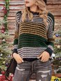 Women Casual Crew Neck Abstract Paneled Sweater