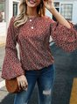 Red Balloon Sleeve Floral Shift Crew Neck Top
