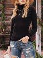 Women Long Sleeve Turtleneck Plain Shirts & Tops
