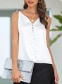White Casual Shift Solid Sexy Cami