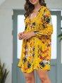 Yellow Casual Floral Boho Mini Dress