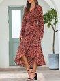 Pink Shift Long Sleeve Holiday Maxi Dress