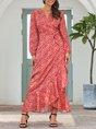 Red Boho Long Sleeve Holiday Maxi Dress