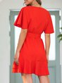 Red Casual Short Sleeve Solid Mini Dress