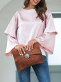 Pink Solid Shift Bell Sleeve Top