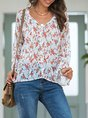 White Bell Sleeve Shift Floral V Neck Top