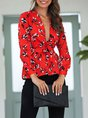 Red Shift Casual Floral Printed Holiday Blouse