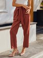 Brick Red Shift Plain Casual Lace-Up Pants