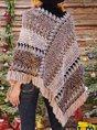 Women Tribal Wrap Fringed V Neck Ponchos