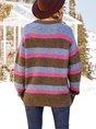 Women Crew Neck Long Sleeve Striped Paneled Sweater