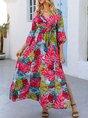 Red Shift V Neck Floral Holiday Maxi Dress