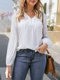 White V Neck Casual Balloon Sleeve Blouse