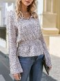Apricot Leopard Casual Printed V Neck Blouse
