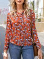 Brown Bow Tie-Neck Leaves Casual Blouse