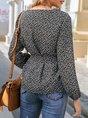 Black Long Sleeve Bow Casual Blouse