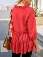 Red Solid V Neck 3/4 Sleeve Shift Blouse