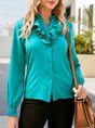 Green Solid Casual Shift V Neck Blouse