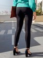Black Sheath Casual Solid Zipper Leg Pants