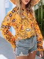 Yellow Casual Long Sleeve Shift Buttoned Blouse