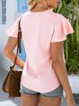 Pink Knot Front Solid Casual Top