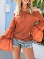 Orange Shift Horizontal Neck Holiday Top