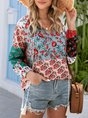 Gray V Neck Holiday Floral Boho Top