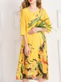 Printed Graphic Casual Midi Dress