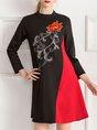 Black Floral Paneled Elegant Midi Dress