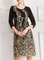 Paneled Graphic Elegant Midi Dress