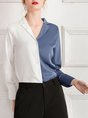 Color-Block Solid Casual Blouse
