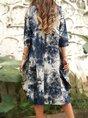 Royal Blue Crew Neck Tie dye Casual Dress
