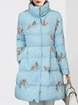 Bow Printed Graphic heath Casual Down Coat