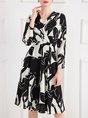 Printed Graphic A-line Elegant Midi Dress